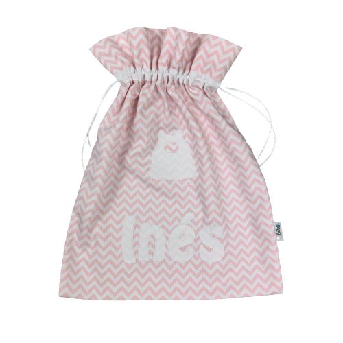 Bolsa para muda guardería personalizada rosa chevron