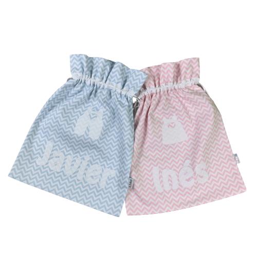 Bolsa para muda guardería personalizada azul y rosa chevron