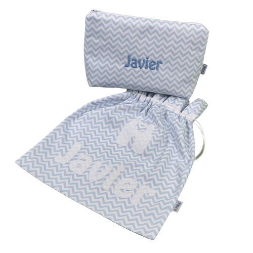 Neceser y bolsa para muda guardería personalizado azul chevron