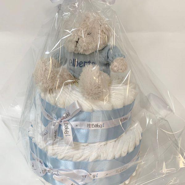 Tarta de pañales personalizada azul - Alberto