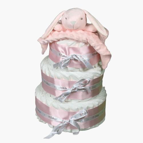 Tarta de pañales 3 pisos rosa con Dou Dou
