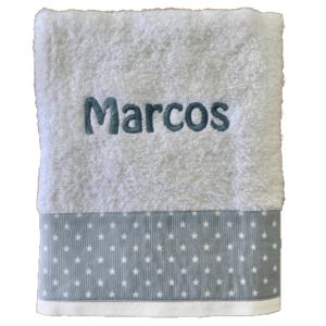 Toalla Ducha personalizada bordado azul estrellas blancas