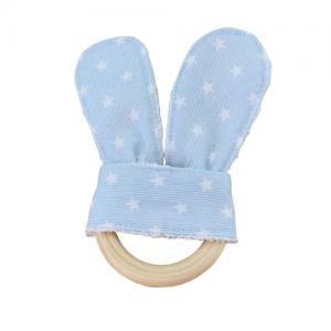 Mordedor bebé tela orejas azul estrellas blancas
