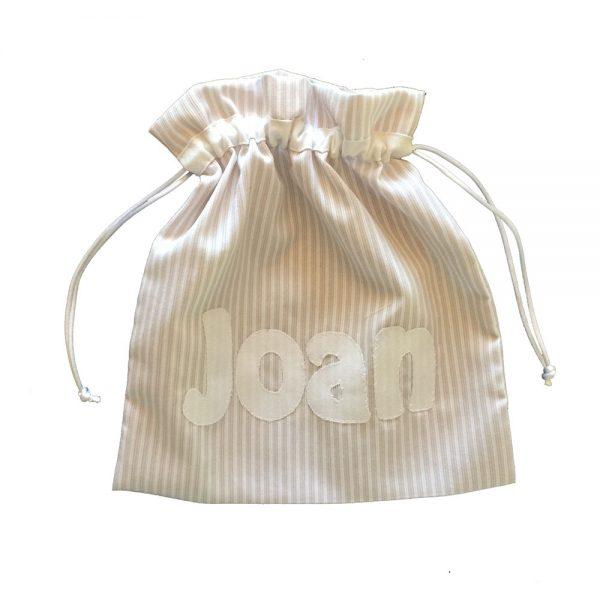 Bolsa merienda personalizada con el nombre con letras aplicadas