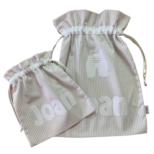 Conjunto bolsa personalizada bebe beige rayas