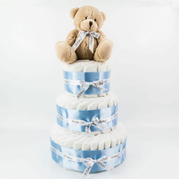 Tarta de pañales 3 pisos azul con peluche