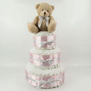 Tarta de pañales 3 pisos rosa con peluche
