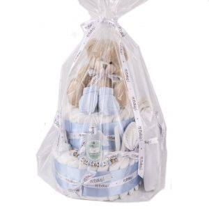 Tarta panales patucos azul regalo